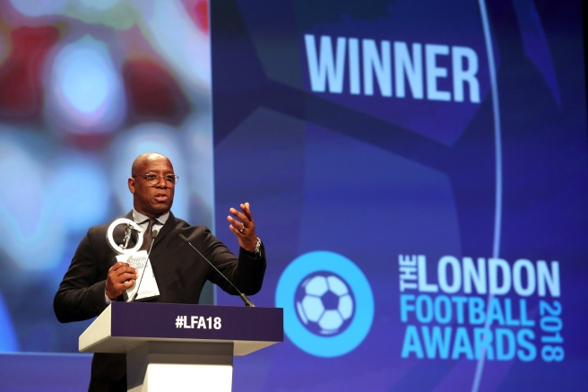 Ian Wright accepts Outstanding Contribution to London Football at LFA18 CREDIT Action Images.jpg