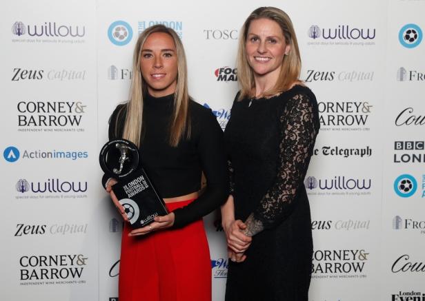 Jordan Knobbs LFA18 winner & Kelly Smith MBE CREDIT Action Images.jpg