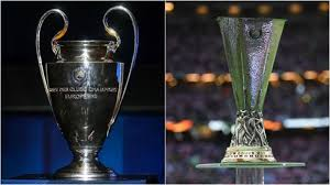 The Champions League and Europa LEague trophies